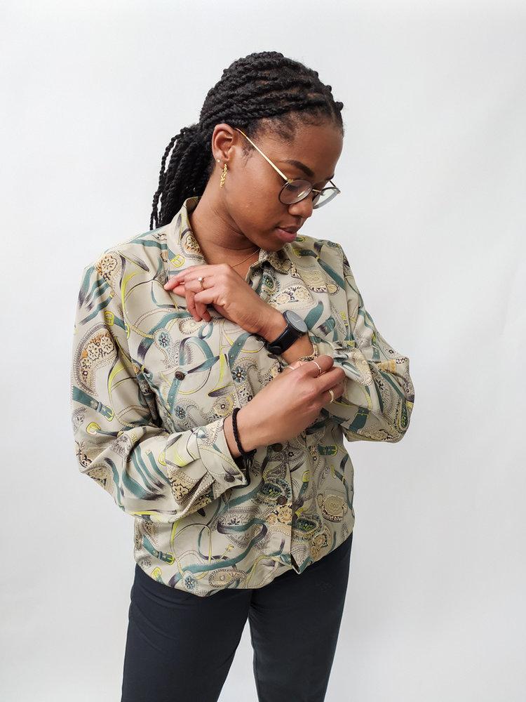 Vintage Geprinte vintage blouse - groen