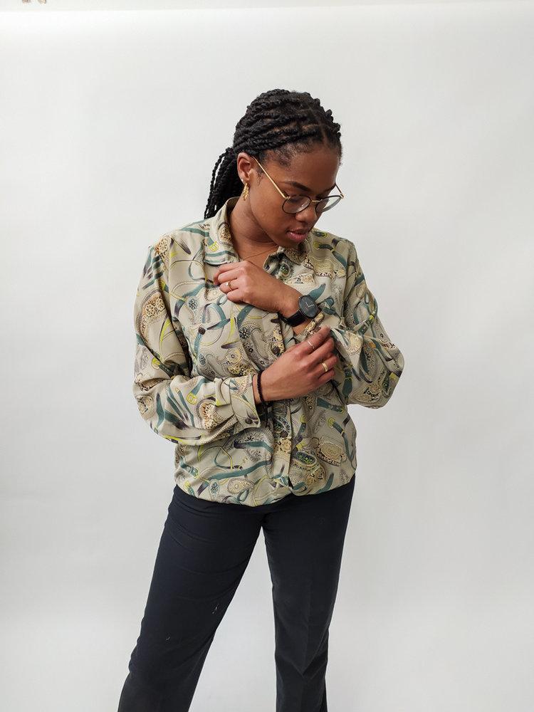 Vintage Printed vintage blouse - green