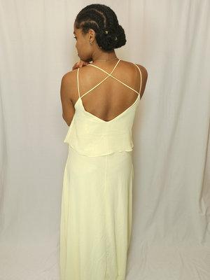 IVIVI Flowy maxi jurk - geel