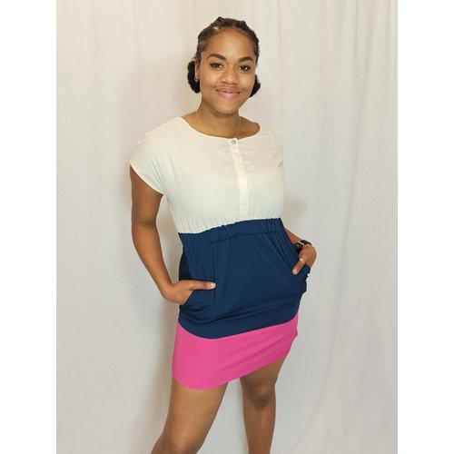 Vila Colorful dress - pink white blue