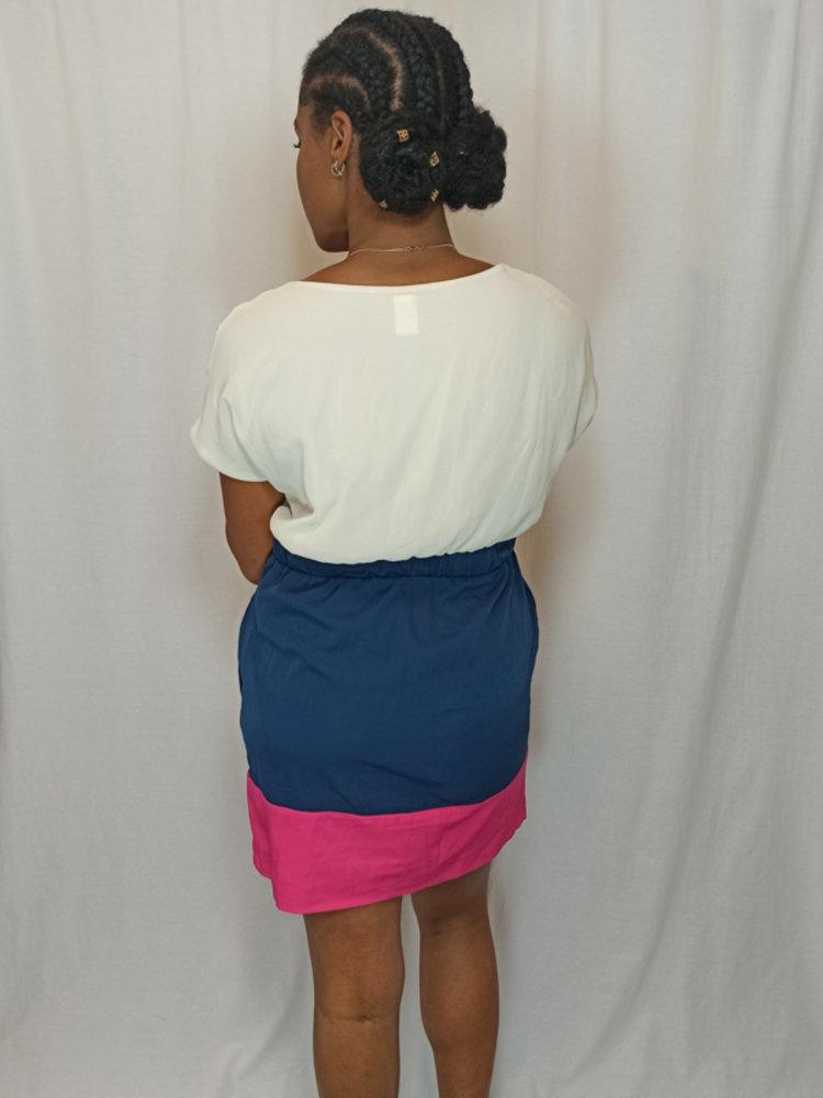 Vila Kleurrijke jurk - roze wit blauw