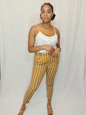 Forever 21 Casual striped trousers - brown