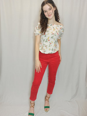 Monki Ribbed high-waist pants - red (36)
