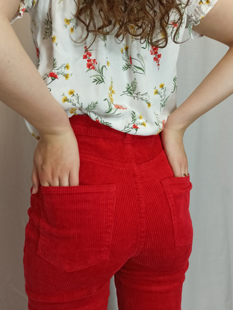 Monki Geribte high-waist broek - rood (36)