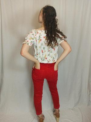 EDC Off-shoulder bloemenprint T-shirt - wit
