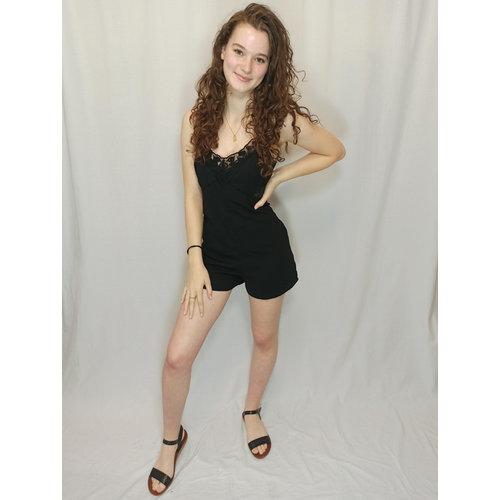 Bershka Playsuit lace - black