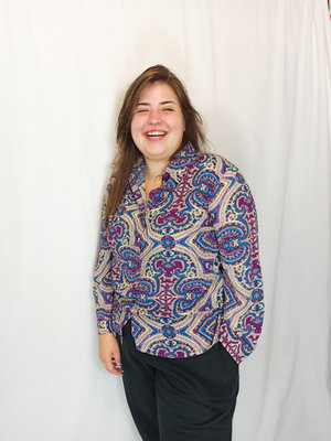 Vintage Vintage printjes blouse - paars blauw