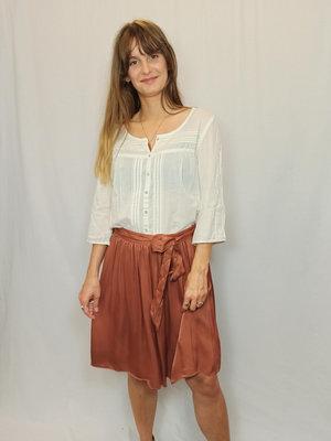 Sissy-Boy Glossy pleated skirt - copper