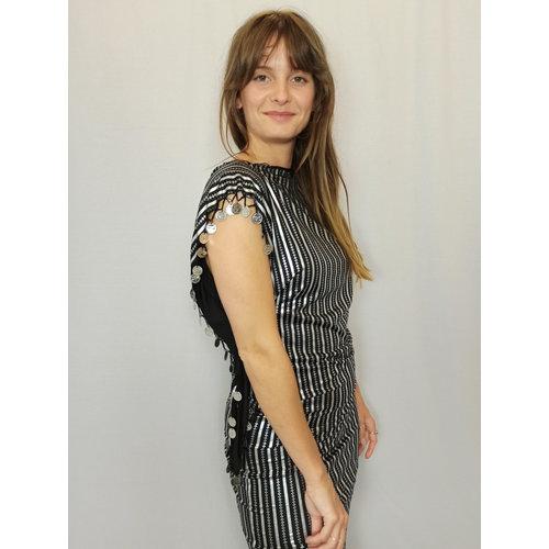 Striped festival dress - silver