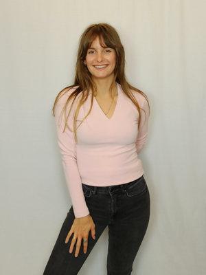 vanilia V-neck longsleeve t-shirt - pink