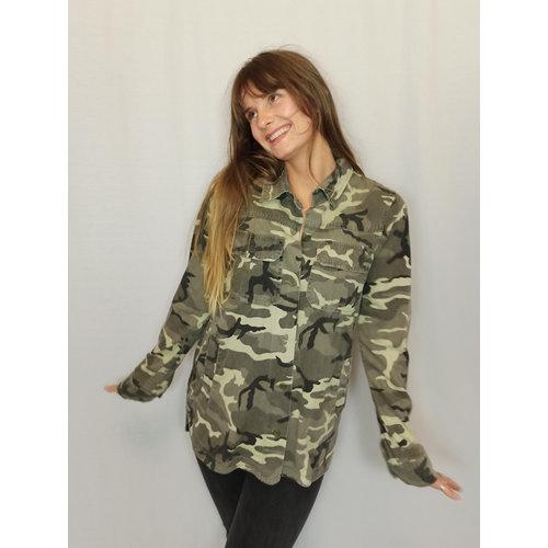Zara Trafaluc Army print blouse - green