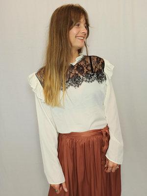 Zara Ruffle kanten blouse - wit zwart