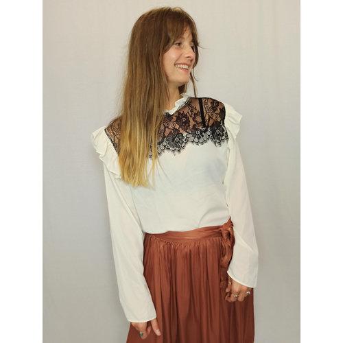 Zara Ruffle lace blouse - white black