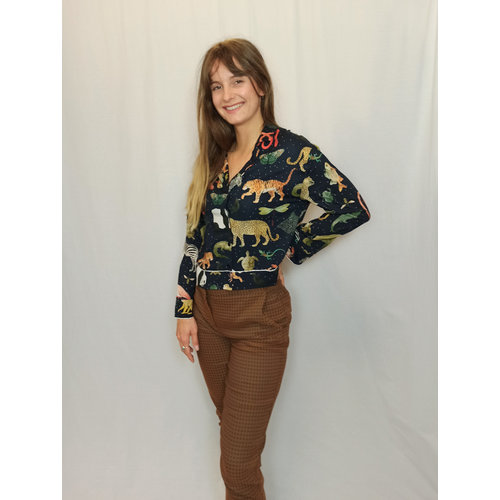 Zara Dierenprint blouse - blauw
