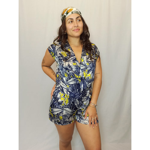 Primark Tropical playsuit - blue yellow