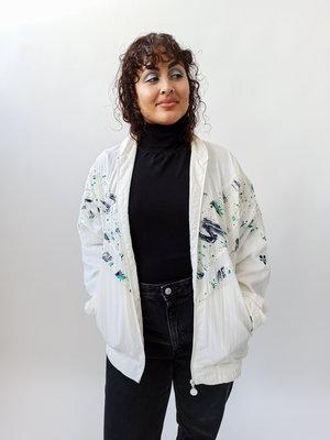 White spetter print training jacket