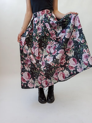 Groen roze bloemenprint maxi rok