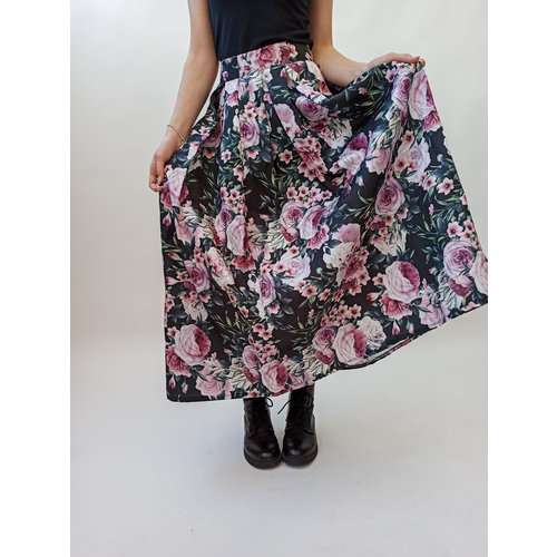 Green pink floral print maxi skirt