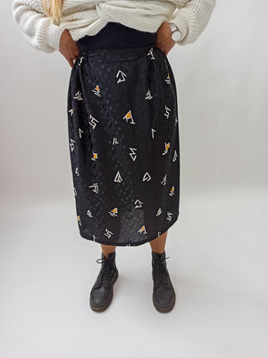 Unknown Black white graphic skirt