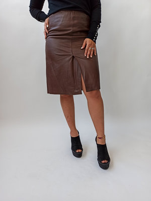 Unknown Brown leather skirt