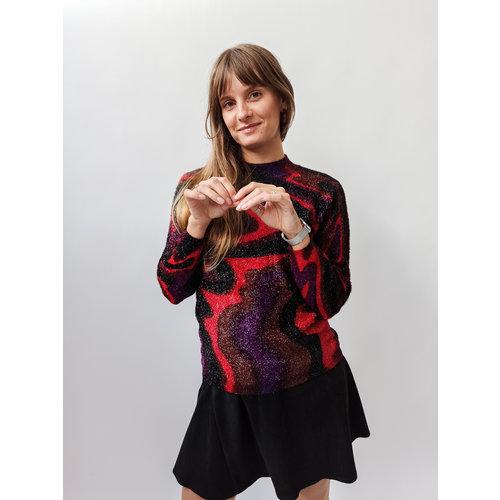 Unknown Red purple glitter sweater