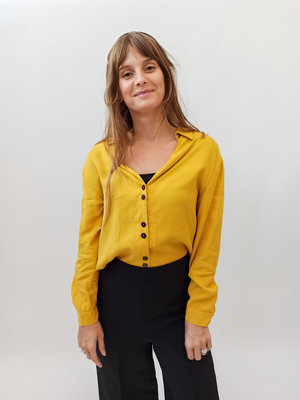 Zara Trafaluc Okergele V-hals blouse