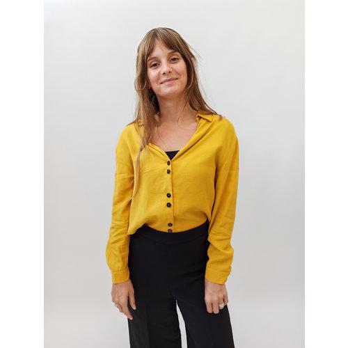 Zara Trafaluc Ocher yellow V-neck blouse