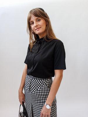 Unknown Zwarte franje kraag blouse