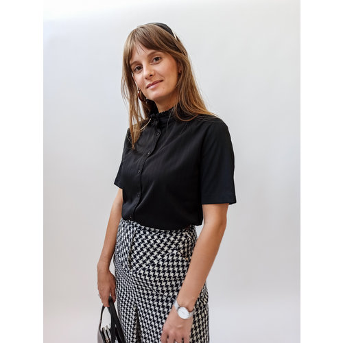 Unknown Black fringes collar blouse