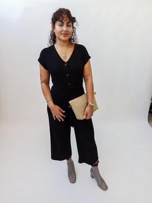 Bershka Zwarte jumpsuit met knopen