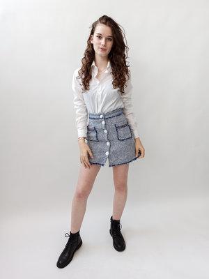 Zara basic Blauw wit A-lijn rokje rafels grote knopen