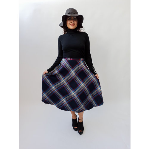 Unknown Blue red checkered skirt