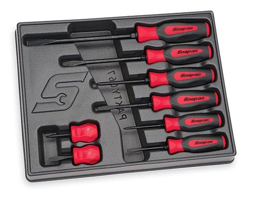 8 delige Combination Instinct® Hard Grip Red Schroevendraaier set