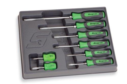 8pc Combination Instinct® Hard Grip Green Screwdriver Set