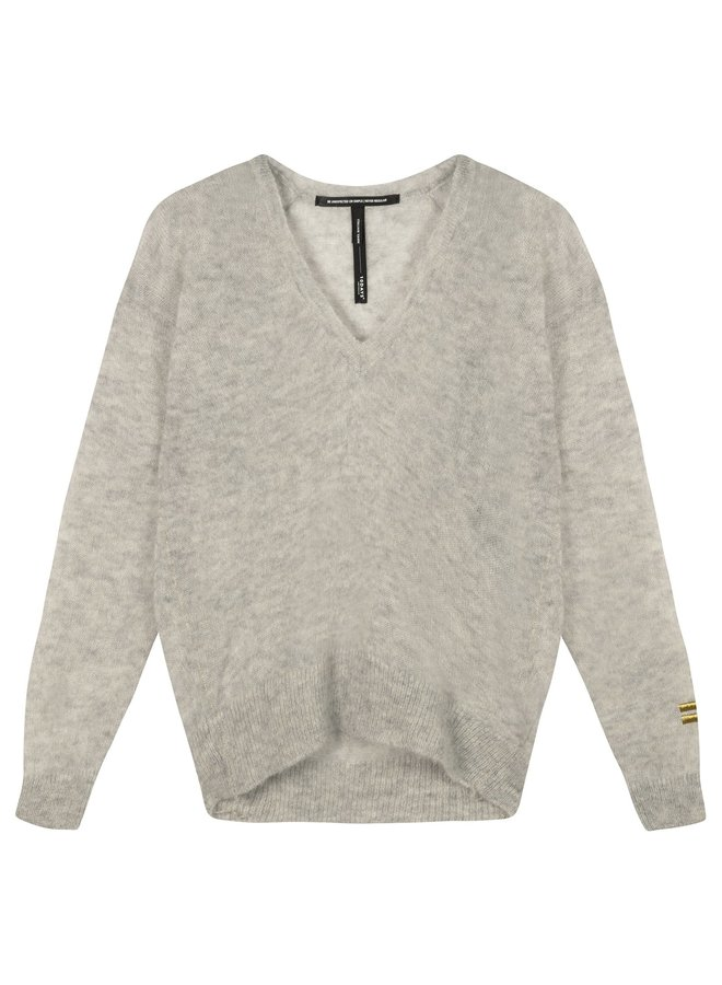 V neck sweater alpaca light grey melee