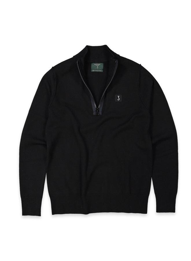 Clifden knit half zip off black