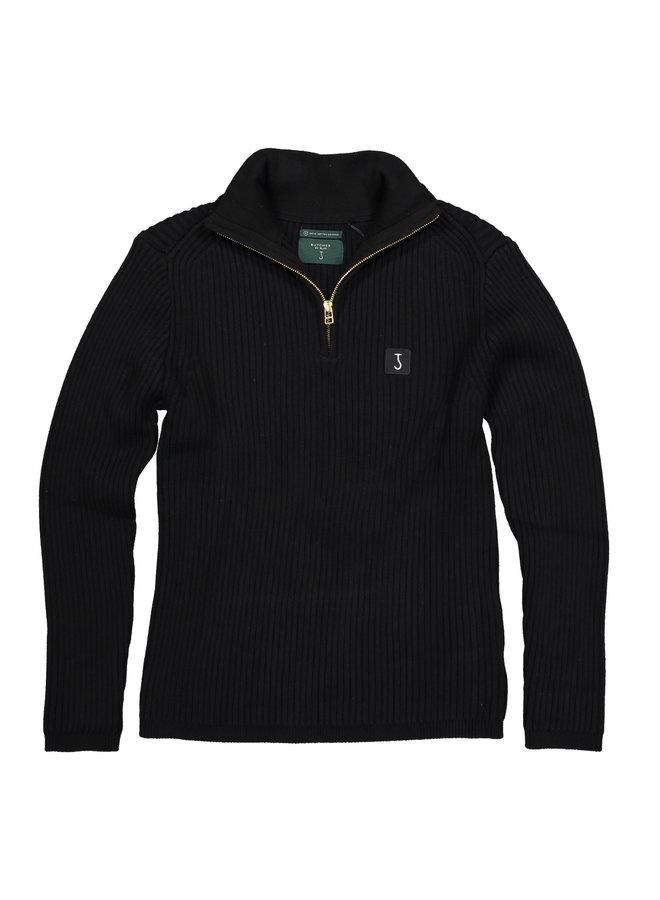 Thin knit half zip off Black