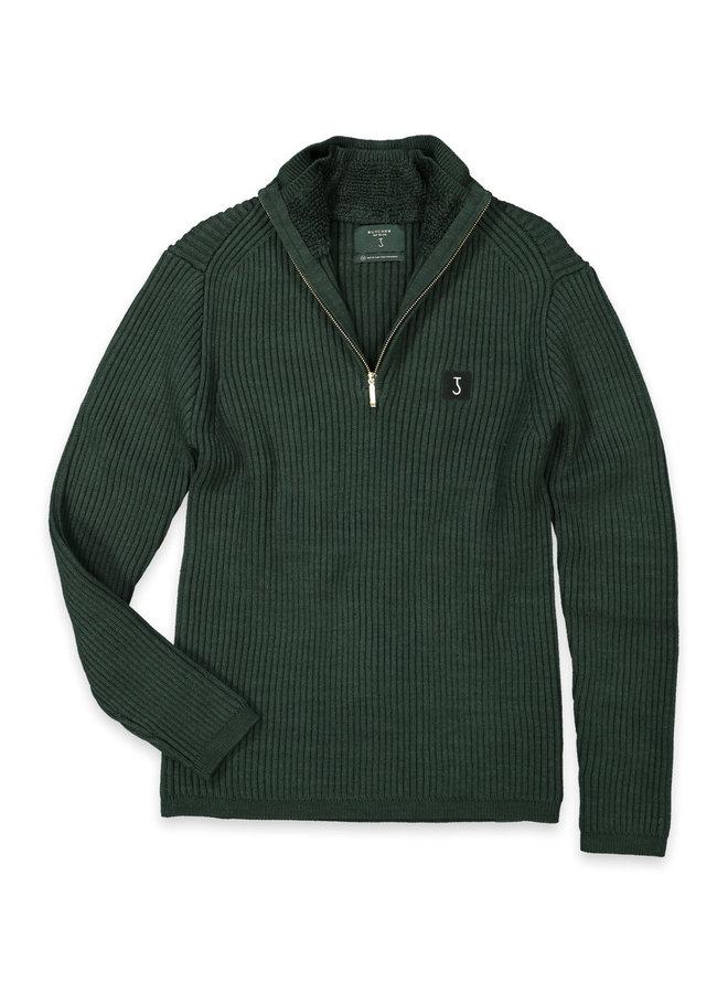 Thin knit half zip jet Green