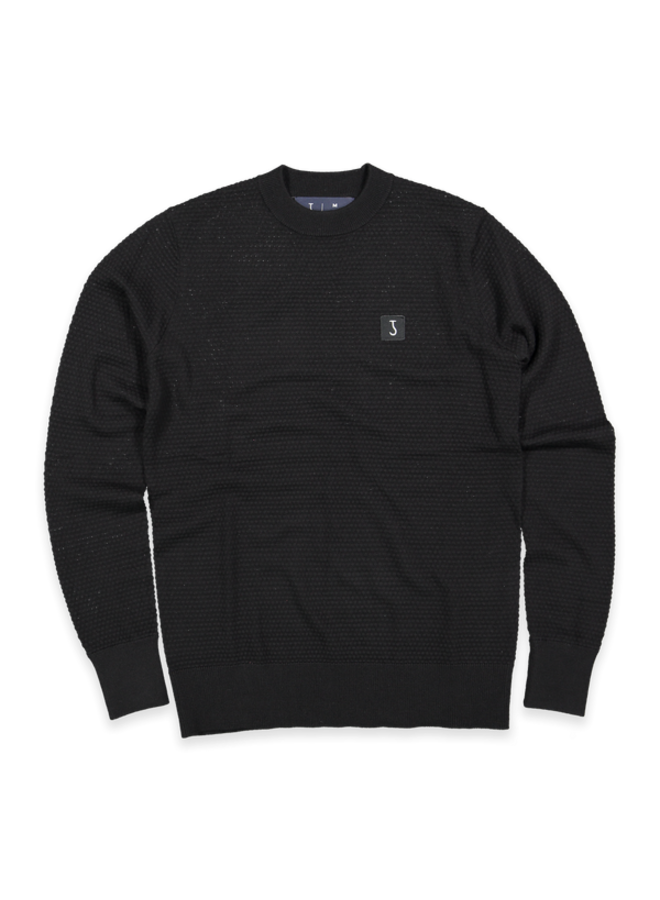 Structure crew knit off black