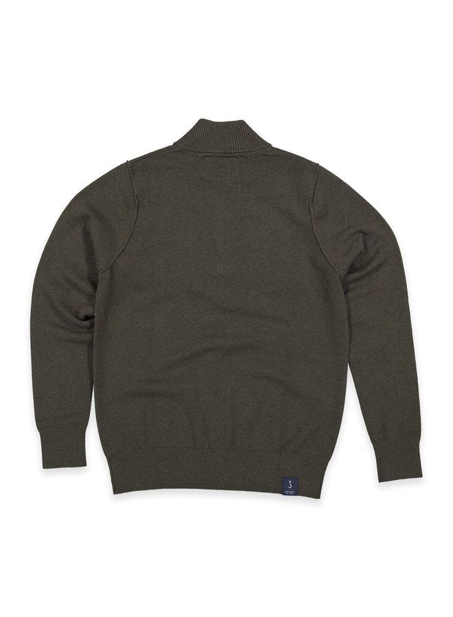 Clifden knit half zip oak green
