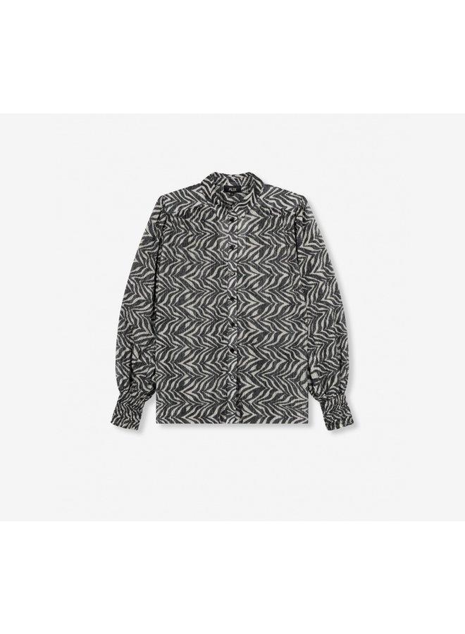 Zebra lurex blouse black