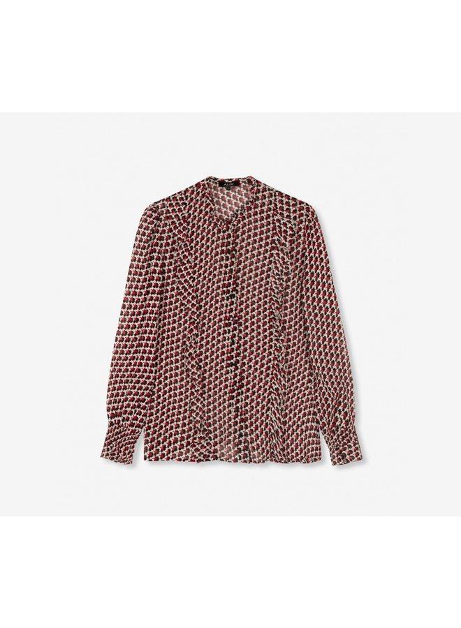 Graphic star chiffon blouse