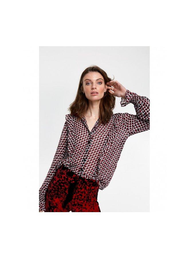 Graphic star chiffon blouse warm red 205952695