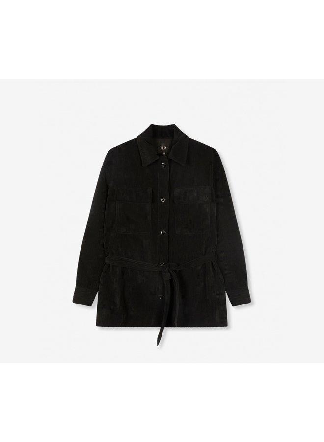 Ribcord blouse black