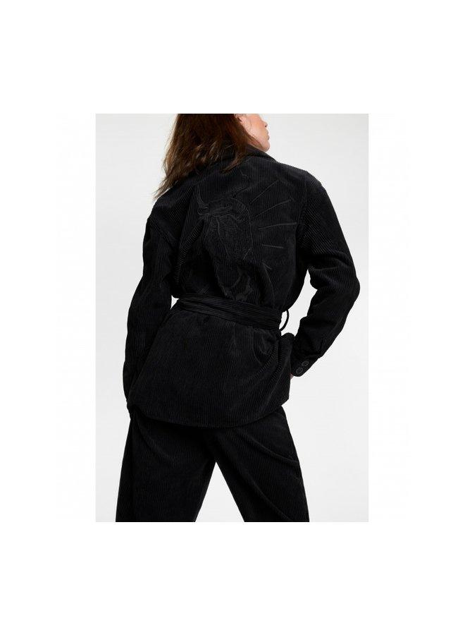 Ribcord blouse black - 205937722-999
