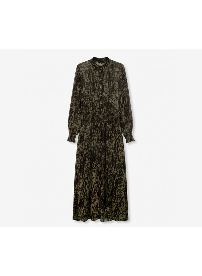 Animal maxi dress dark olive - 205349725-741