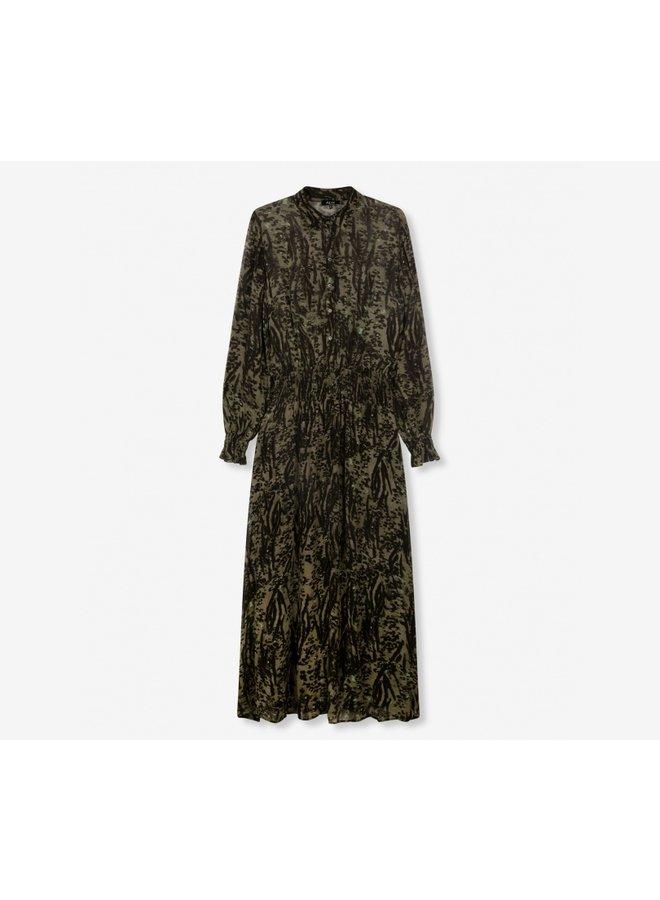 Animal maxi dress dark olive