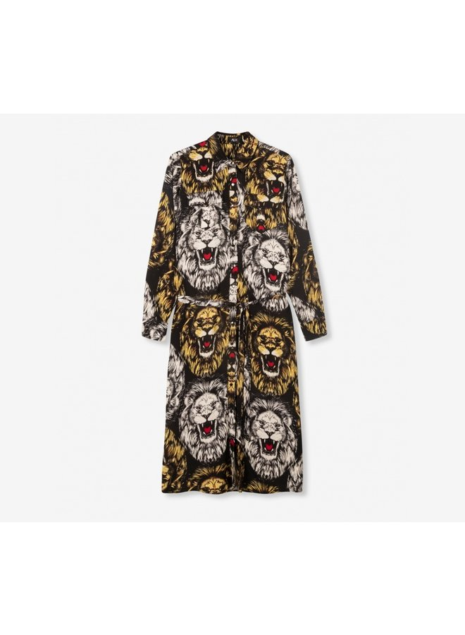 Oversized lion blouse dress