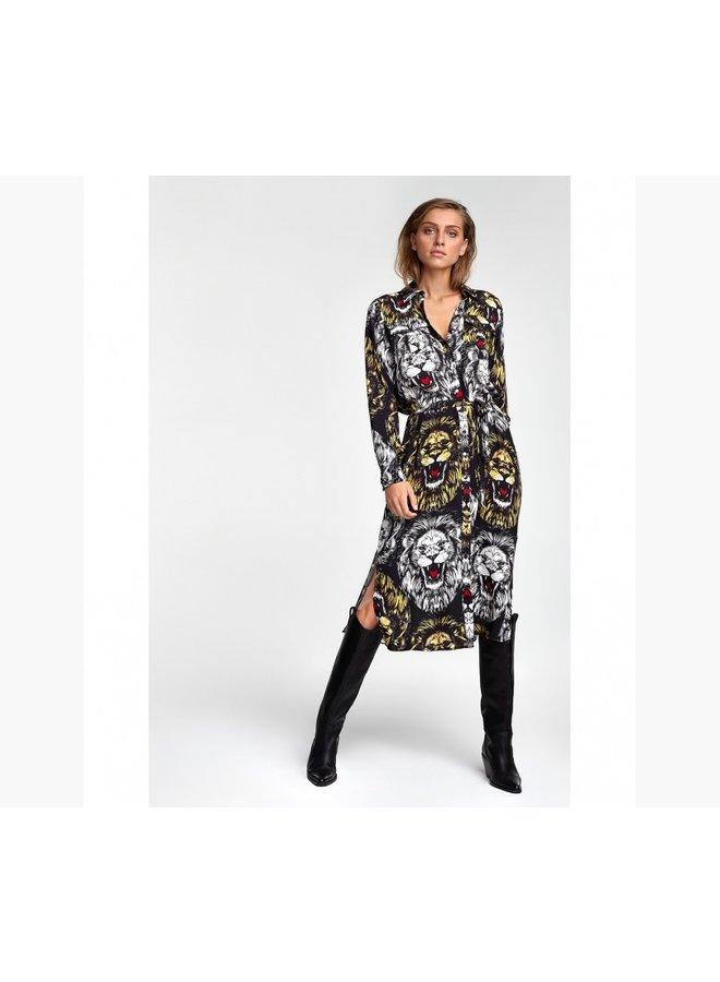 Oversized lion blouse dress black 205348702