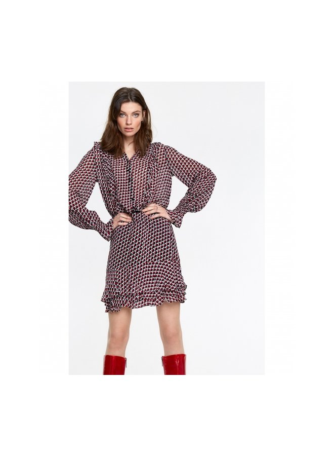 Graphic star chiffon skirt warm red - 205252693-507